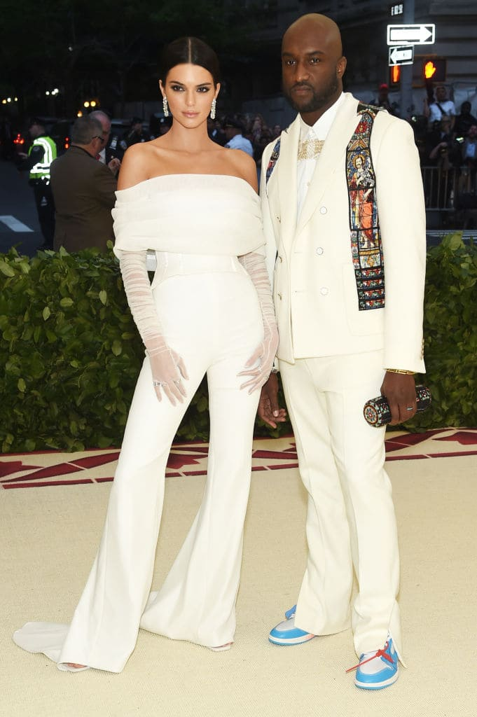 Kendall Jenner and Virgil Abloh attend the Heavenly Bodies: Fashion & The Catholic Imagination Costume Institute Gala at The Metropolitan Museum of Art on May 7, 2018 in New York City. (Photo by Jamie McCarthy/Getty Images)