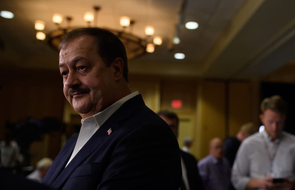 U.S. Senate Republican primary candidate Don Blankenship is interviewed by media outlets following the closing of the polls May 8, 2018 in Charleston, West Virginia. (Photo by Jeff Swensen/Getty Images)