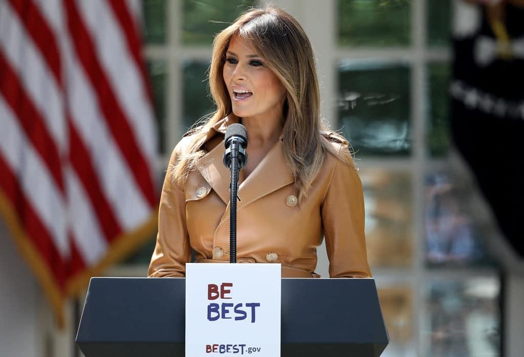 U.S. first lady Melania Trump speaks in the Rose Garden of the White House May 7, 2018 in Washington, DC. Trump outlined her new initiatives as first lady during the event. (Getty Images)