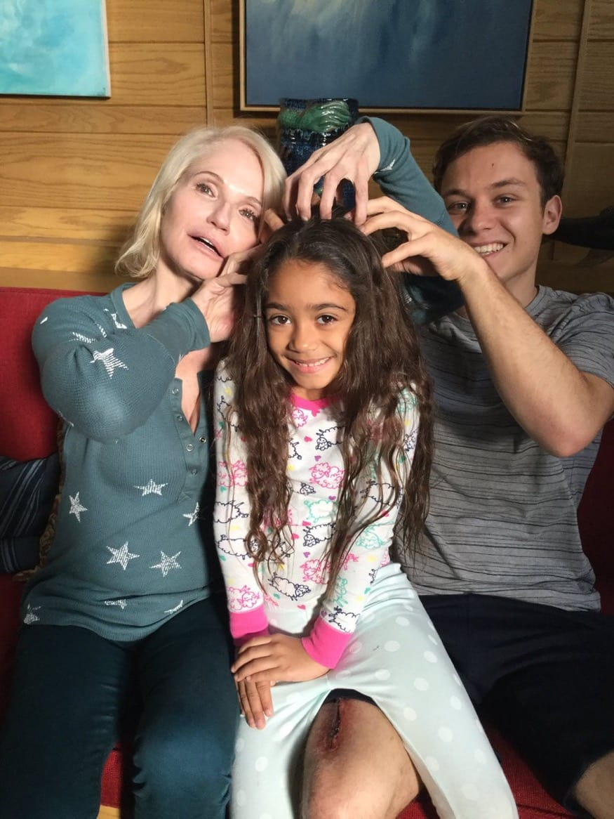 Aamya with her Animal Kingdom co-stars, Ellen Barkin and Finn Cole (Aamya Deva Keroles)