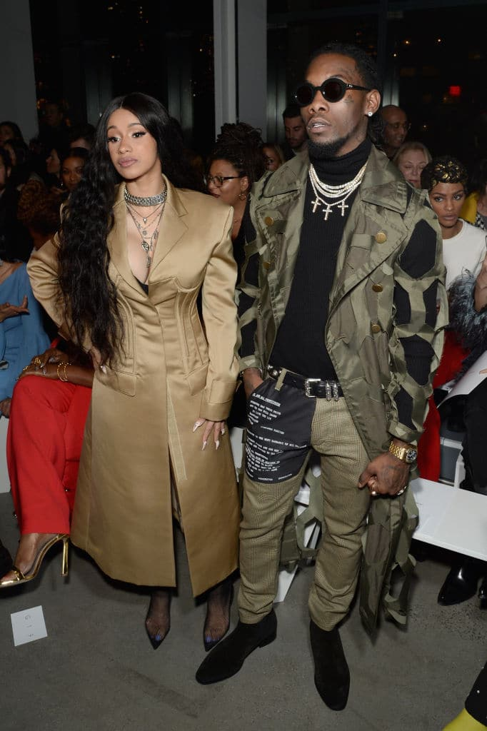 Recording artists Cardi B and Offset of the group Migos attend the Prabal Gurung front row during New York Fashion Week: The Shows at Gallery I at Spring Studios on February 11, 2018 in New York City. (Photo by Andrew Toth/Getty Images for New York Fashion Week: The Shows)