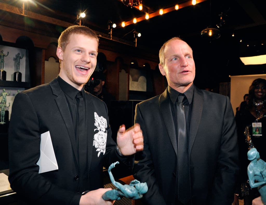 Actors Lucas Hedges (L) and Woody Harrelson pose in the trophy room at the 24th Annual Screen Actors Guild Awards at The Shrine Auditorium on January 21, 2018 in Los Angeles, California. (Photo by John Sciulli/Getty Images for Turner)