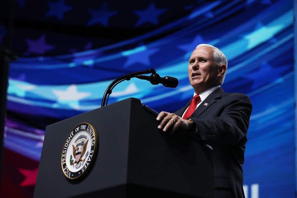Mike Pence speaks at the NRA-ILA Leadership Forum during the NRA Annual Meeting & Exhibits at the Kay Bailey Hutchison Convention Center on May 4, 2018 in Dallas, Texas. (Photo by Justin Sullivan/Getty Images)