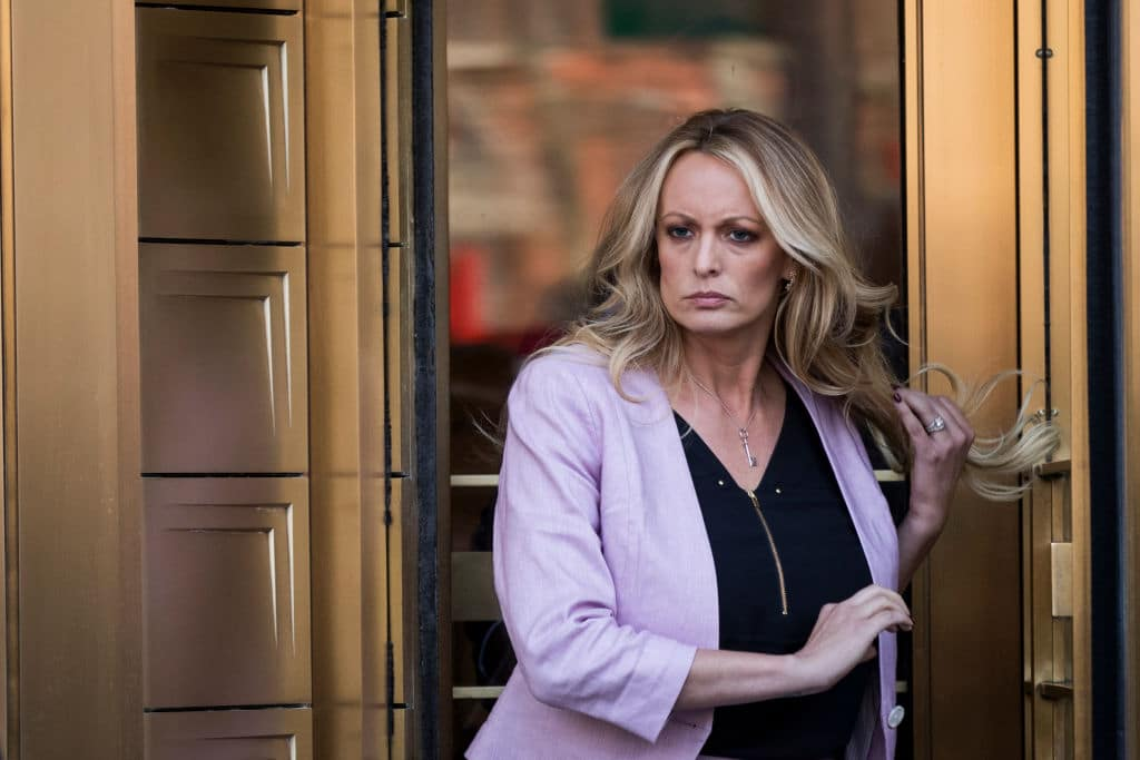 Adult film actress Stormy Daniels (Stephanie Clifford) exits the United States District Court Southern District of New York for a hearing related to Michael Cohen, President Trump's longtime personal attorney and confidante, April 16, 2018 in New York City. (Photo by Drew Angerer/Getty Images)