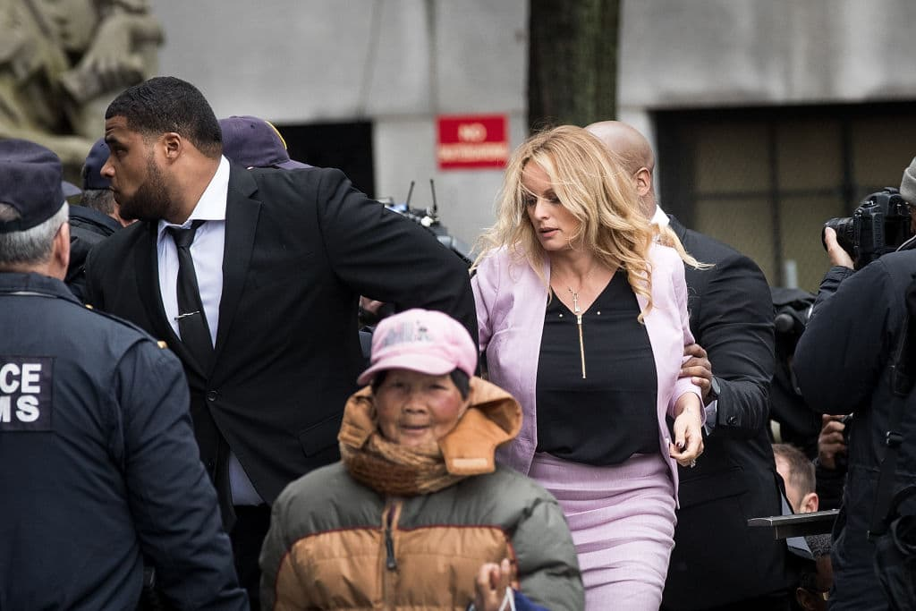 Adult film actress Stormy Daniels (Stephanie Clifford) arrives at the United States District Court Southern District of New York for a hearing related to Michael Cohen, President Trump's longtime personal attorney and confidante, April 16, 2018 in New York City. (Photo by Drew Angerer/Getty Images)