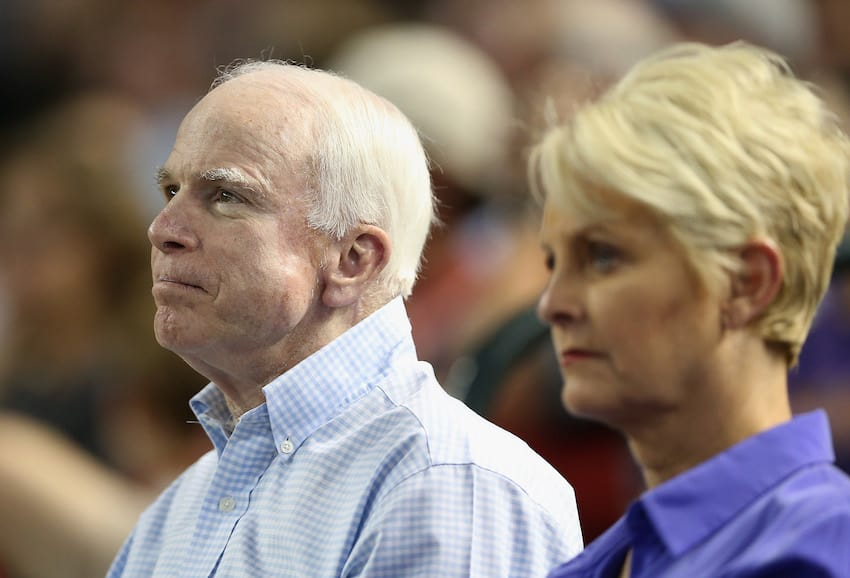 U.S. Senator John McCain (R-AZ) and wife Cindy attend the MLB game between the Arizona Diamondbacks and the Los Angeles Dodgers at Chase Field on May 17, 2014 in Phoenix, Arizona. (Getty Images)