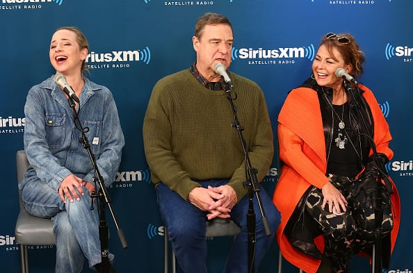 Lecy Goranson, John Goodman and Roseanne Barr speak during SiriusXM's Town Hall with the cast of Roseanne on March 27, 2018 in New York City. Astrid Stawiarz/Getty Images for SiriusXM