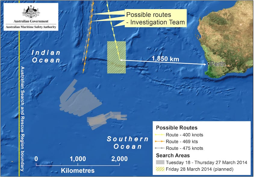 This handout Satellite image made available by the AMSA (Australian Maritime Safety Authority) shows a map of the planned search area for missing Malaysian Airlines Flight MH370 on March 28, 2014. (Getty Images)
