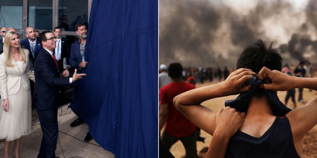 Picture 1: US Treasury Secretary Steve Mnuchin and US President's daughter Ivanka Trump unveil an inauguration plaque during the opening of the US embassy in Jerusalem on May 14, 2018 in Jerusalem, Israel.  Picture 2: A Palestinian teenager prepares to head to the border fence with Israel as mass demonstrations continue on May 14, 2018 in Gaza City, Gaza. (Getty Images)
