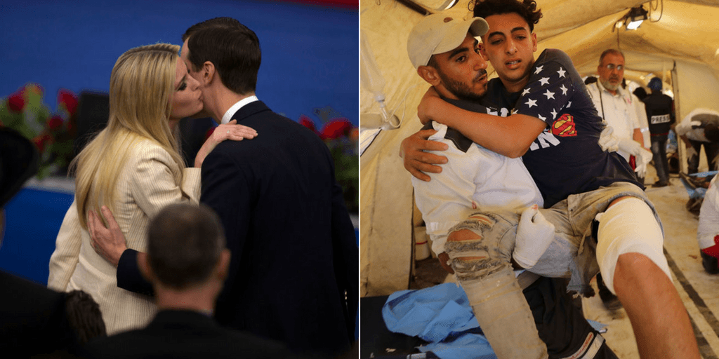 Picture 1: Ivanka Trump (L) kisses White House senior advisors Jared Kushner during the opening of the US embassy in Jerusalem on May 14, 2018 in Jerusalem, Israel. Picture 2: A wounded Palestinian protester arrives at a field hospital near the border fence with Israel as mass demonstrations continue on May 14, 2018 in Gaza City, Gaza (Getty Images)