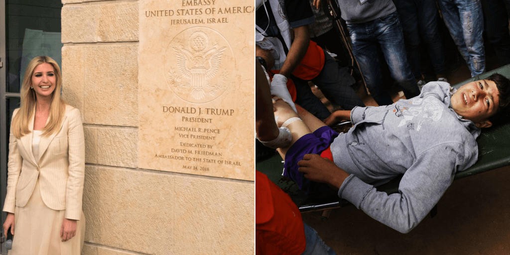 Picture 1: White House senior advisor Ivanka Trump (R) arrive to the opening of the US embassy in Jerusalem on May 14, 2018 in Jerusalem, Israel.  Picture 2: A wounded Palestinian boy is rushed to an ambulance at the border fence with Israel as mass demonstrations continue on May 14, 2018 in Gaza City, Gaza. (Getty Images)