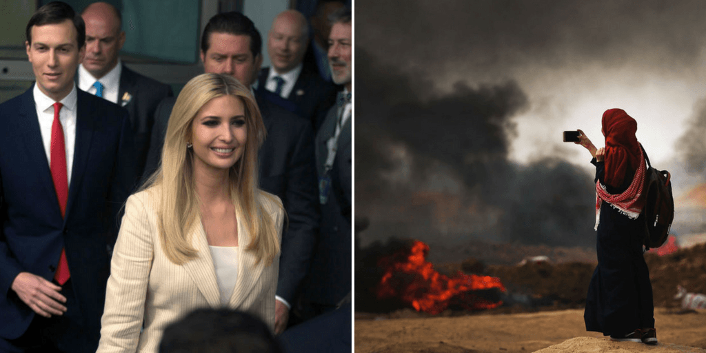 Picture 1: White House senior advisor Ivanka Trump (C) US Treasury Secretary Steven Mnuchin (R) and Senior White House Advisor Jared Kushner (L) arrive to the opening of the US embassy in Jerusalem on May 14, 2018 in Jerusalem, Israel. Picture 2: A Palestinian woman documents the situation at the border fence with Israel as mass demonstrations continue on May 14, 2018 in Gaza City, Gaza. (Getty Images)