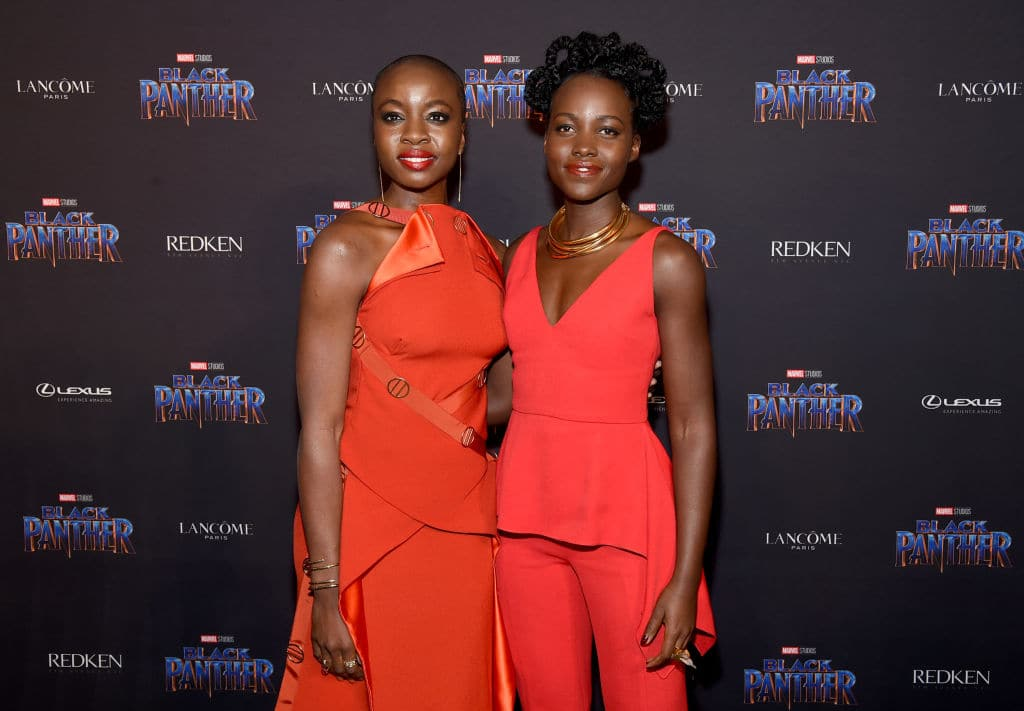 Danai Gurira and Lupita Nyong'o at the New York Fashion Week in February 2018 (Getty Images)