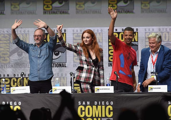 L-R) Liam Cunninham, Sophie Turner, Jacob Anderson and Conleth Hill speak onstage at Comic-Con International 2017 'Game Of Thrones' panel. Getty images.