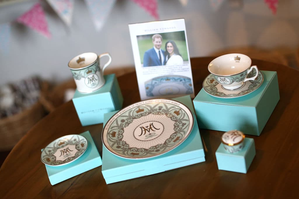 A special edition crockery set is displayed ahead of the wedding of Prince Harry and Meghan Markle at William Edwards Home Ltd on May 16, 2018 in Stoke on Trent, England. Crafted in the Potteries, William Edwards Home Ltd has created a limited edition collection of fine bone china embellished with both platinum and 22 carat gold to celebrate the Royal marriage of HRH Prince Harry and Meghan Markle. (Photo by Jan Kruger/Getty Images)