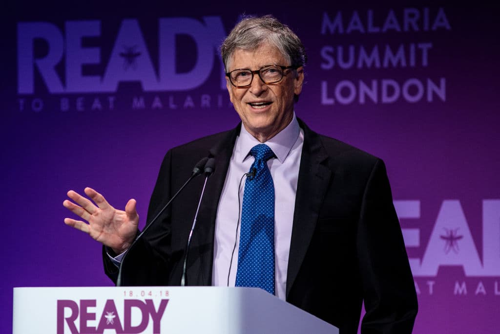 American businessman and philanthropist Bill Gates makes a speech at the Malaria Summit at 8 Northumberland Avenue on April 18, 2018 in London, England. (Getty Images)
