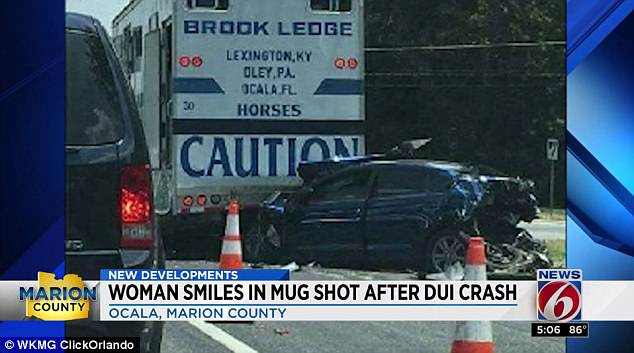 Welk crashed into the rear of Kroll's car, pictured above, propelling it forward to hit a tractor-trailer in front of it, severely injuring Clarkson. (WKMG Screenshot)