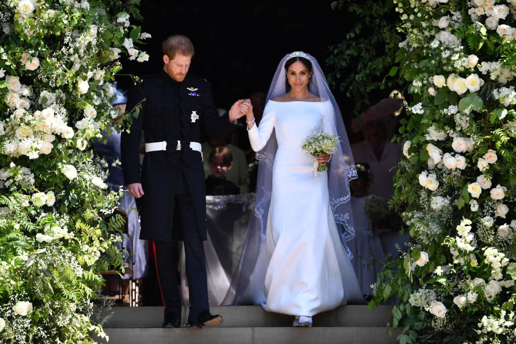 Meghan Markle chose a modest white bridal gown designed by Givenchy's Clare Waight Keller for her wedding (Getty Images)