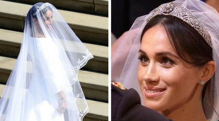 Meghan Markle wears Queen Mary's diamond bandeau tiara, lent to her by the Queen