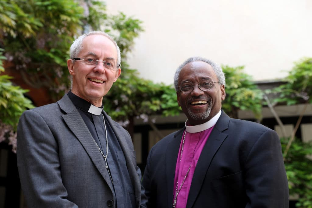 The Archbishop of Canterbury Justin Welby (L) with American bishop Michael Curry (Photo by Steve Parsons - Pool / Getty Images)