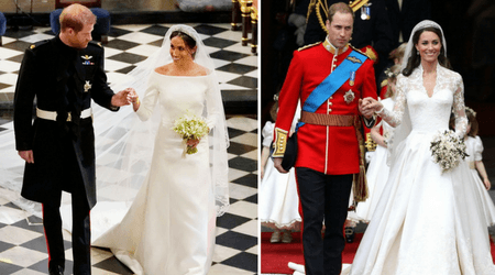 Lace and long trains: Here's how Meghan Markle's wedding dress compared to Kate Middleton's