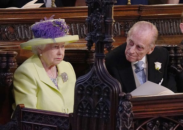 Queen Elizabeth II and Prince Philip, Duke of Edinburgh arrive for the wedding ceremony of Britain's Prince Harry and US actress Meghan Markle at St George's Chapel, Windsor Castle on May 19 (Getty Images)