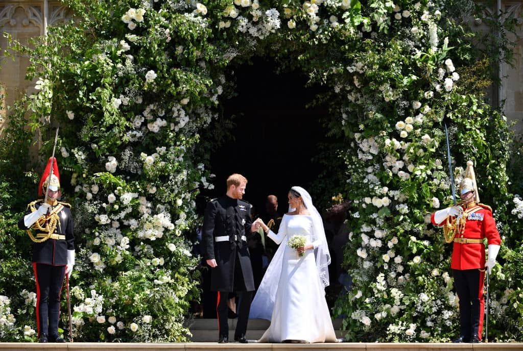 The decoration has peonies, foxglove, and white garden roses (Getty Images)