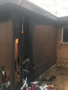 The fire damaged the storage and laundry room. (Tucson Police Department)