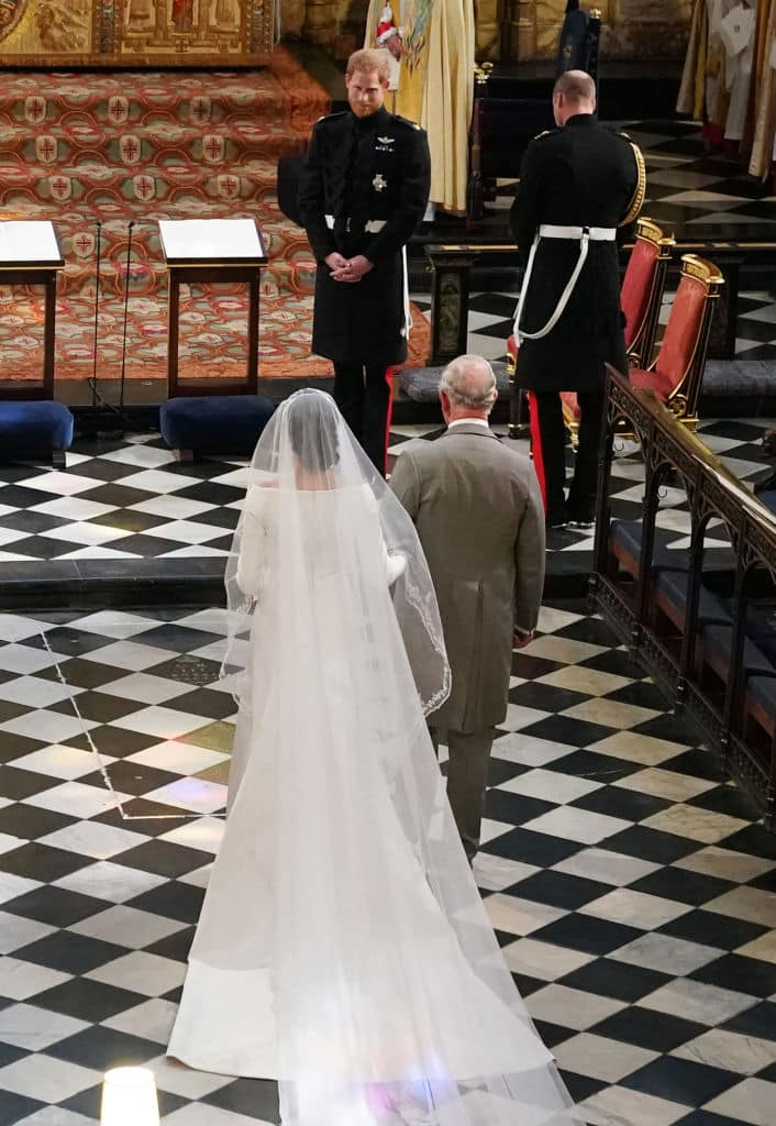 Thomas was unofficially uninvited to the royal wedding, and Prince Charles had to take his place beside Meghan and walk her down the aisle at the wedding. (Source: Getty images)