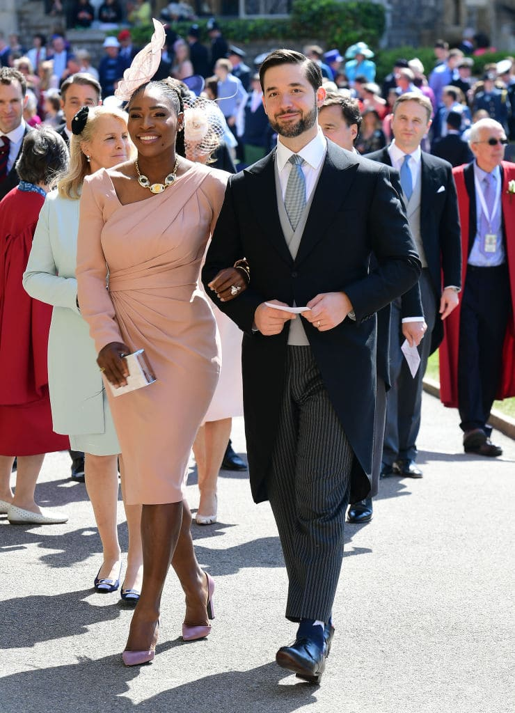 Serena Williams and her husband Alexis Ohanian arrive for the wedding ceremony of Britain's Prince Harry and US actress Meghan Markle at St George's Chapel, Windsor Castle on May 19, 2018 in Windsor, England. (Photo by Ian West - WPA Pool/Getty Images)
