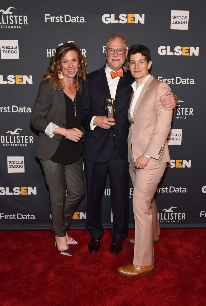 Melissa Dickson, Visionary Award Honoree David Henry Jacobs and Eliza Byard attend the GLSEN 2018 Respect Awards at Cipriani 42nd Street on May 21, 2018 in New York City. (Photo by Ilya S. Savenok/Getty Images for GLSEN)