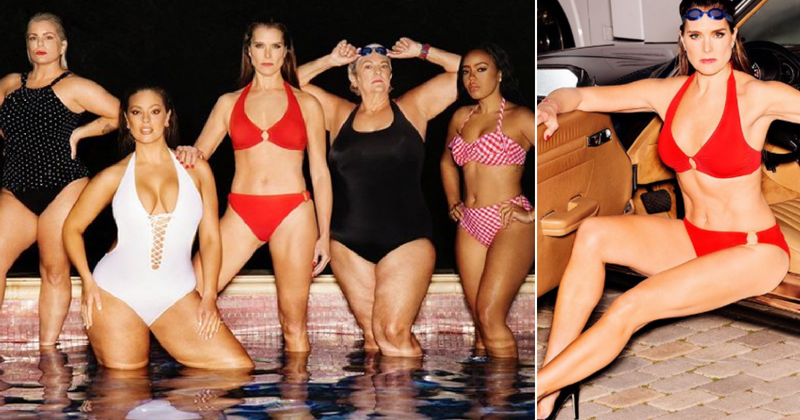e3c9d684eed40 Brooke Shields looks stunning in red as she models for Power Suit, Swimsuits  for All's latest campaign. Brooke Shields, Ashley Graham ...