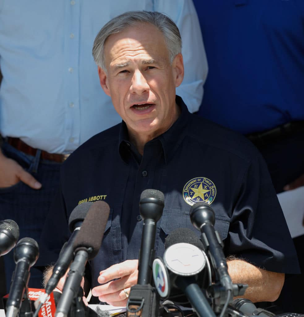 Texas Gov. Greg Abbott speaks during a press conference about the shooting incident at Santa Fe High School May 18, 2018, in Santa Fe, Texas. (Photo by Bob Levey/Getty Images)