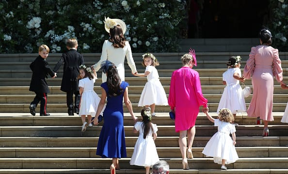 The Duchess of Cambridge makes sure the children climb the stairs carefully (Source: Getty Images)
