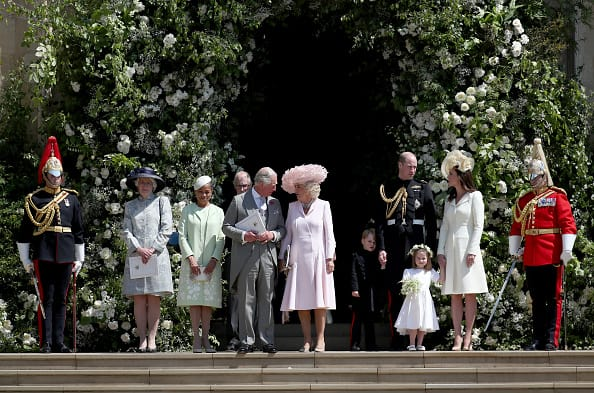 The family sees off Prince Harry and Meghan Markle from the wedding chapel (Source: Getty Images)