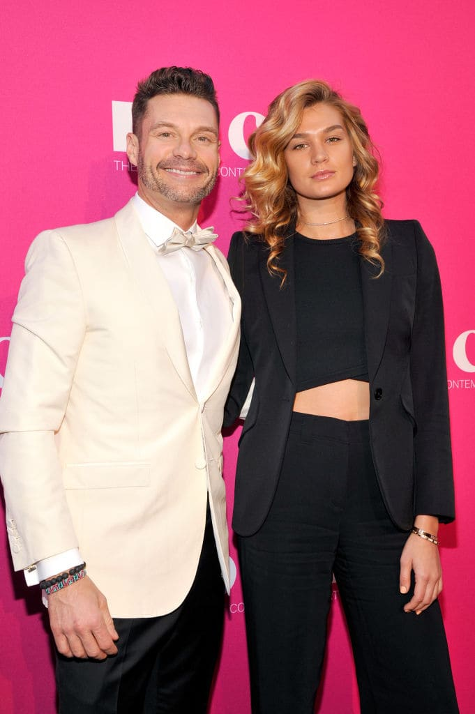 Tv personality Ryan Seacrest (L) and Shayna Taylor at the MOCA Gala 2017 honoring Jeff Koons at The Geffen Contemporary at MOCA on April 29, 2017 in Los Angeles, California. (Photo by John Sciulli/Getty Images for MOCA)