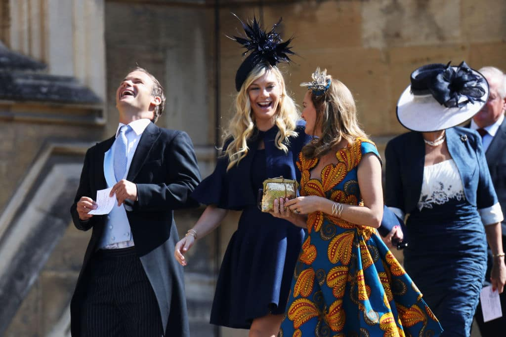 Chelsy Davy (C) arrives at the wedding of Prince Harry to Ms Meghan Markle at St George's Chapel, Windsor Castle on May 19, 2018 in Windsor, England. (Photo by Chris Jackson/Getty Images)