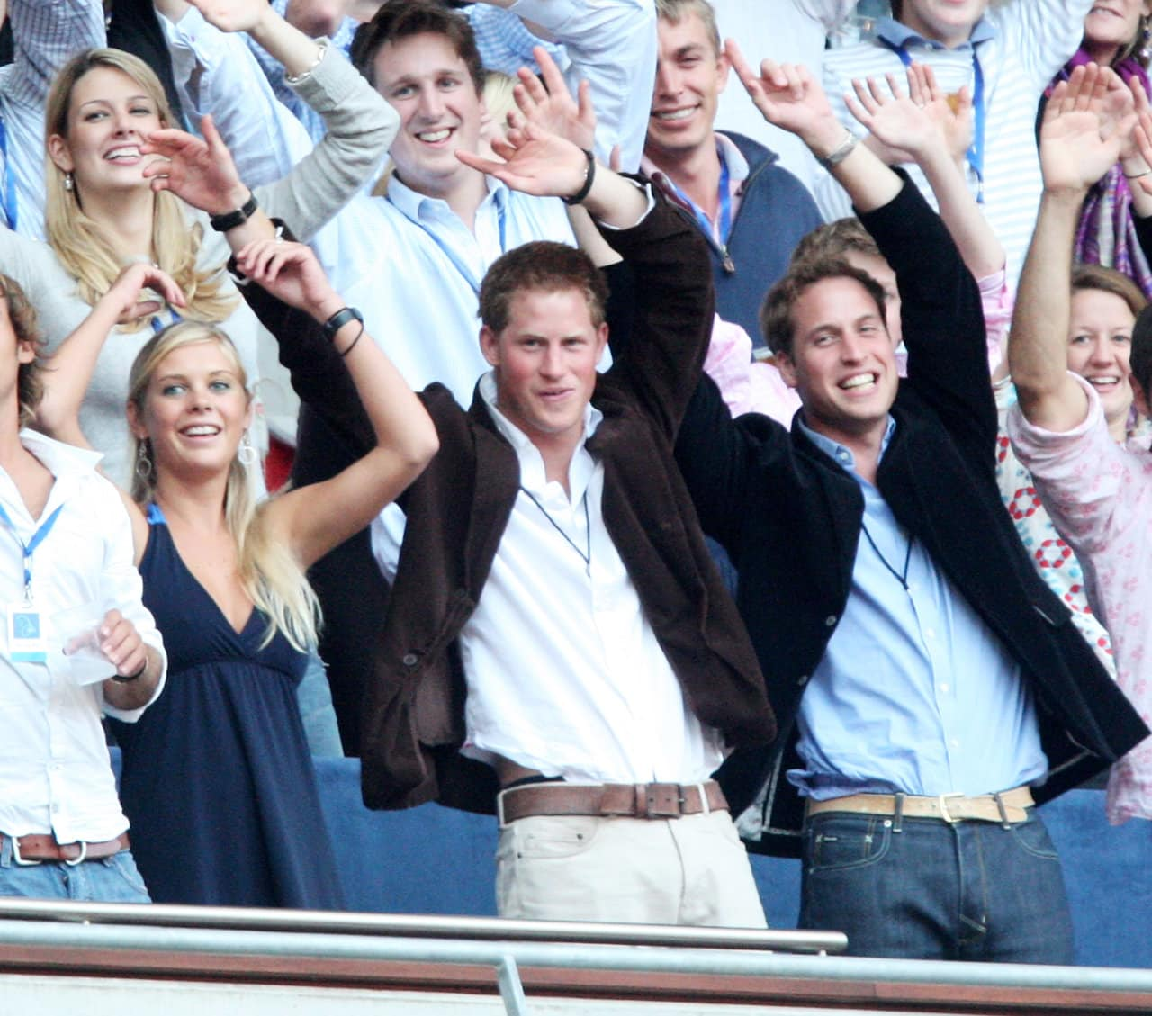 Prince William and Prince Harry and Chelsy Davy watch Rod Stewart perform during the Concert for Diana at Wembley Stadium on July 1, 2007 in London, England. (Photo by Getty Images/Getty Images)