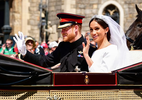 Prince Harry and MeghanMarkleduring the procession after getting married at St George's Chapel, Windsor Castle on May 19, 2018 in Windsor. (Getty Images)