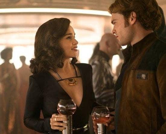 Emilia Clarke (Qi'ra) andAlden Ehrenreich (Han Solo) in Solo: A Star Wars Story (Facebook)