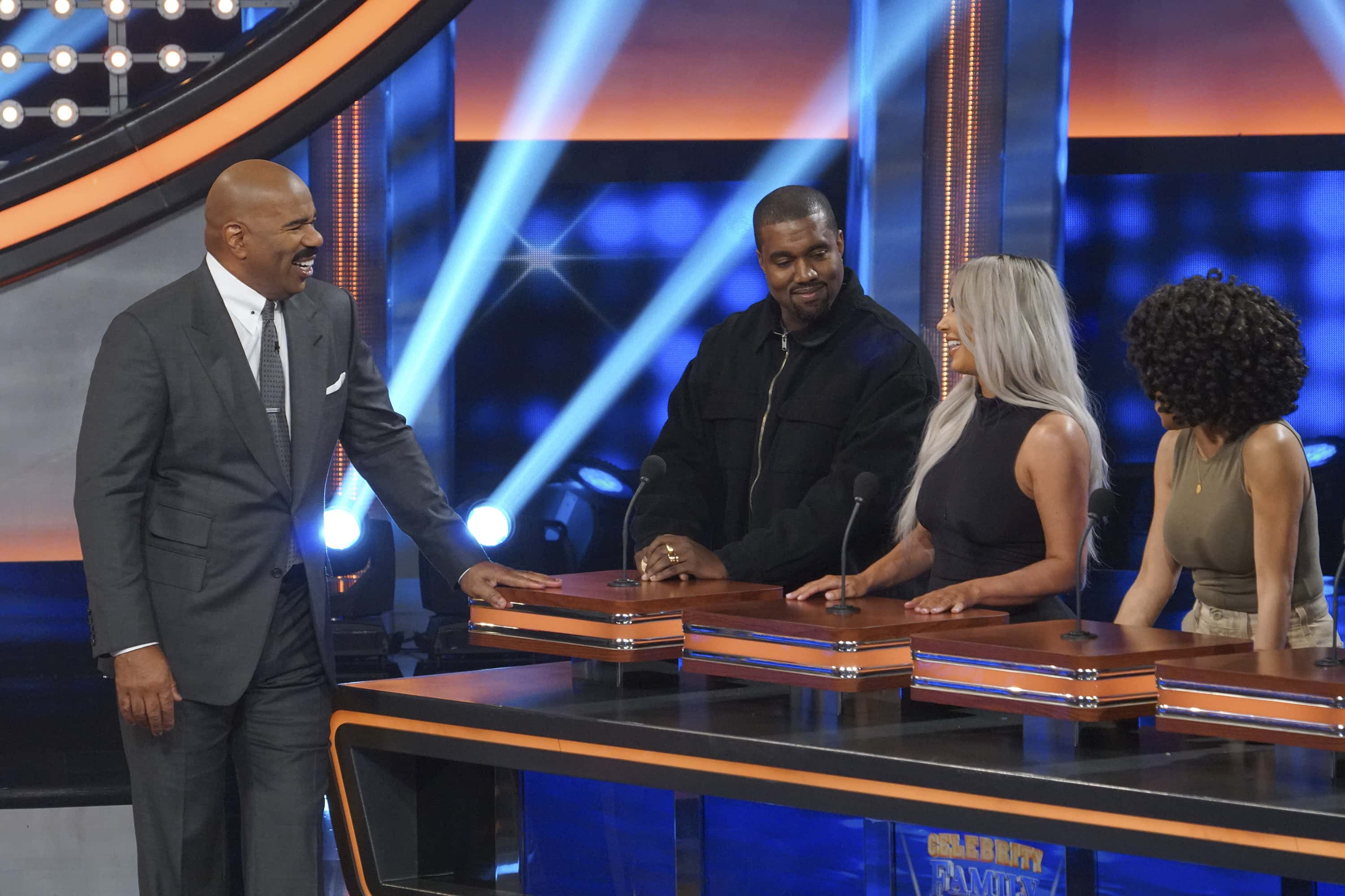 It's the Wests versus the Kardashians on an upcoming episode of Celebrity Family Feud (ABC)