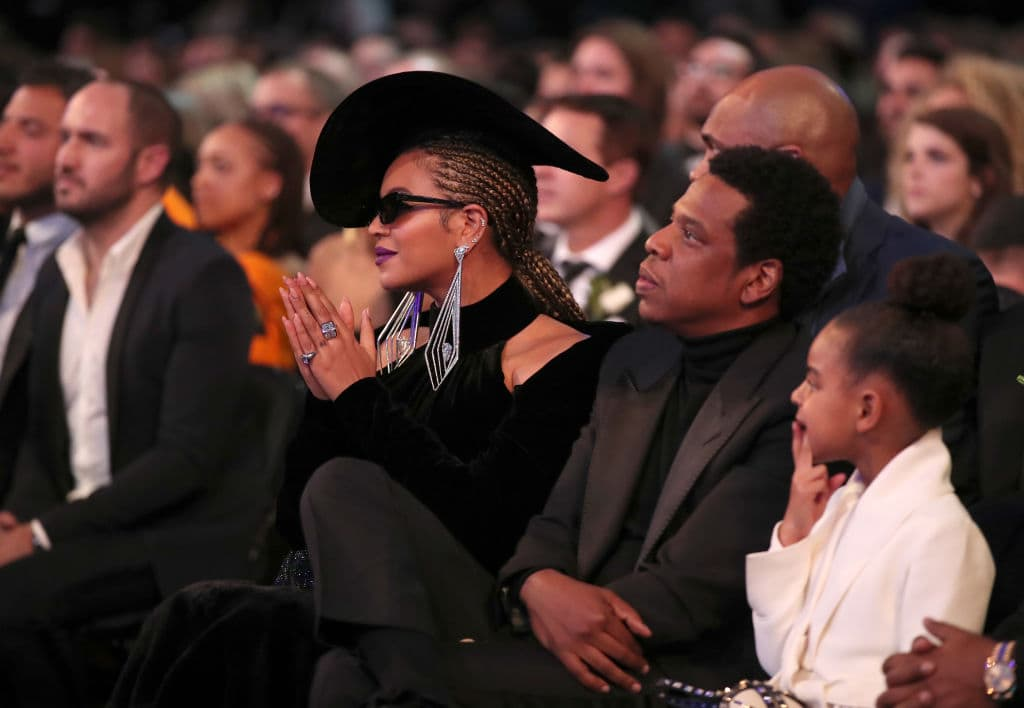 (L-R) Recording artists Beyonce and Jay-Z, and Blue Ivy Carter attend the 60th Annual GRAMMY Awards at Madison Square Garden on January 28, 2018 in New York City. (Photo by Christopher Polk/Getty Images for NARAS)