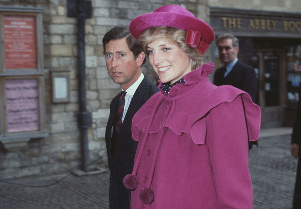 Prince Charles and Diana at Westminster Abbey, London, for a centenary service for the Royal College Of Music, 28th February 1982 (Photo by Fox Photos/Hulton Archive/Getty Images)