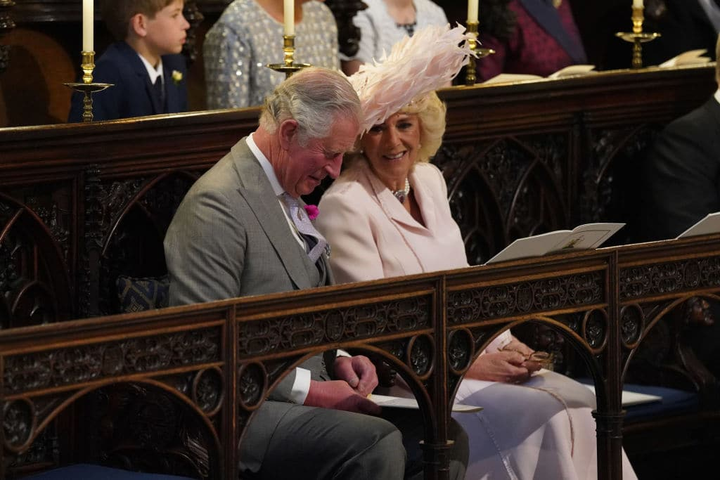 Prince Charles, Prince of Wales and Camilla, Duchess of Cornwall attend the wedding of Prince Harry and Meghan Markle in St George's Chapel at Windsor Castle on May 19, 2018 in Windsor, England (Photo by Jonathan Brady - WPA Pool/Getty Images)