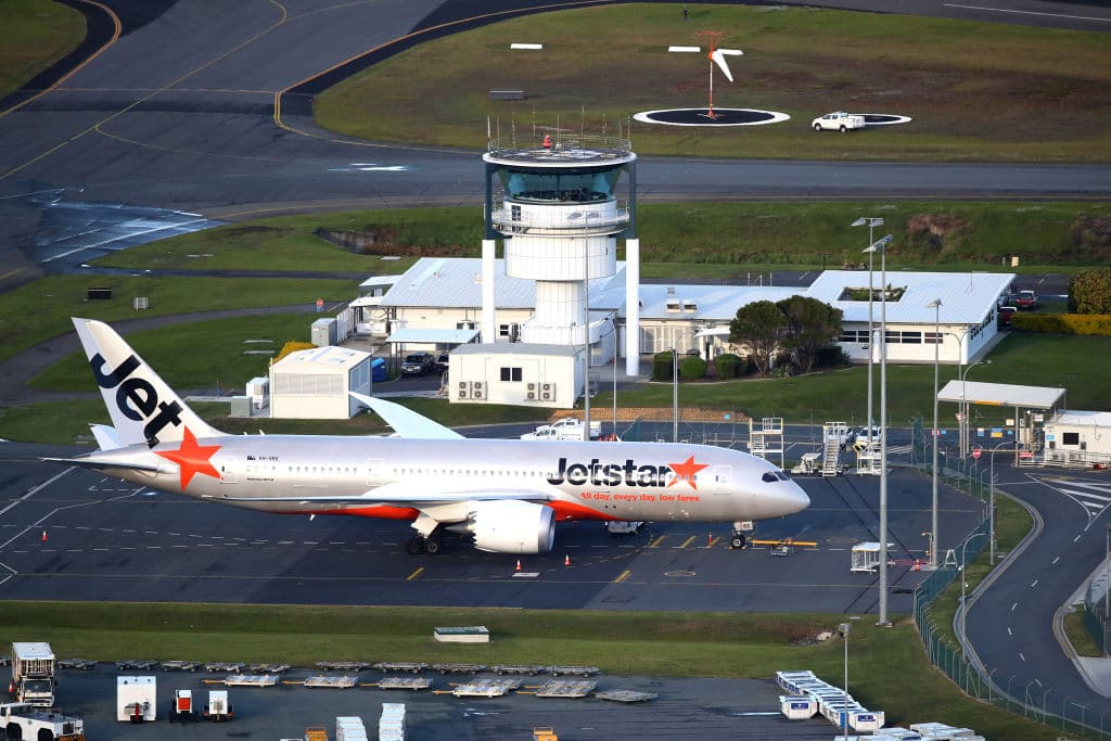 A Jetstar plane on the Tarmac at Gold Coast Airport on April 7, 2017, in Gold Coast, Australia. (Photo by Cameron Spencer/Getty Images)