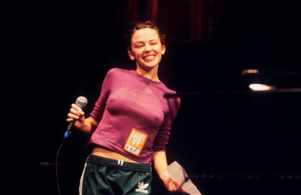 Kylie Minogue at the Poetry Olympics, Royal Albert Hall, London, 1996 (Getty Images)