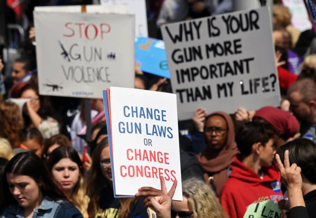 The Parkland massacre trigered a nationwide anti-gun movement called Never Again, seeking stricter gun control laws (Getty Images)