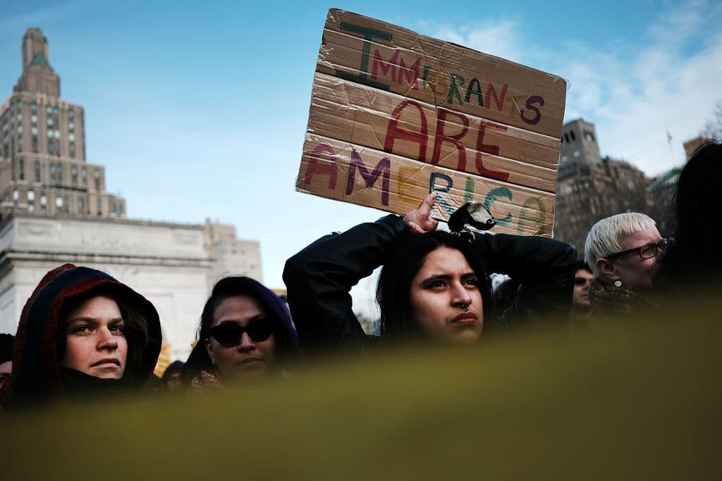 Demonstrators march against the immigration polices of President Donald Trump and other issues on February 11, 2017 in New York City. (Getty Images)