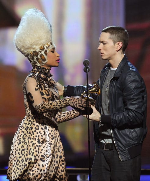 Nicki Minaj (L) presents Eminem the Best Rap Album Award for 'Recovery' onstage during The 53rd Annual GRAMMY Awards held at Staples Center on February 13, 2011 in Los Angeles, California. (Photo by Kevin Winter/Getty Images)