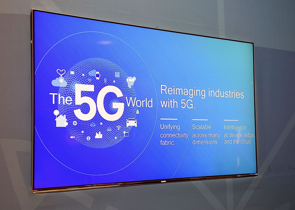 A 5G logo is displayed on a monitor at the Intel booth at CES 2017 at the Las Vegas Convention Center on January 6, 2017, in Las Vegas, Nevada. (Photo by David Becker/Getty Images)